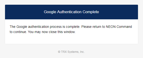 Sign In - Google Authentication Complete